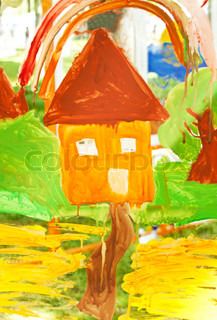 child's drawing house on the glass