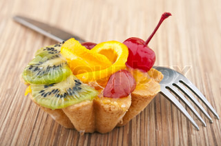 delicious cake with fruit