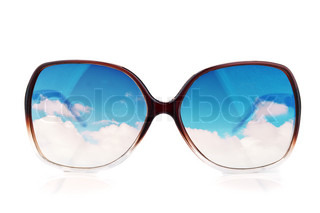 sun-glasses with the reflections of the sky