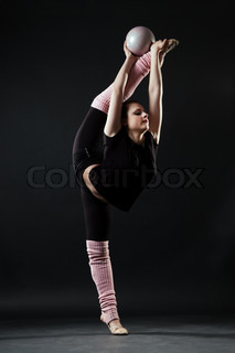 beautiful gymnast with ball