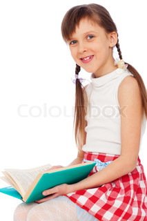 cute smiley girl with book