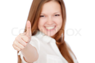 happy beautiful girl showing thumbs up