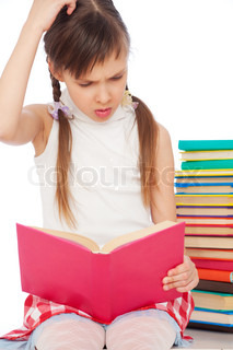 pensive young girl with books