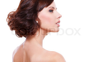 sideview portrait of young alluring woman