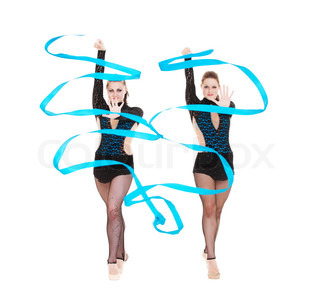 two gymnasts dancing with blue ribbons