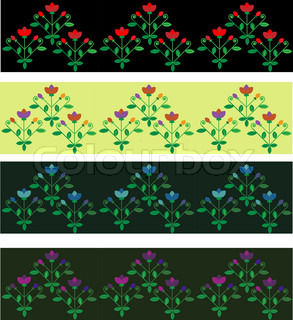 Four seamless floral decorative borders