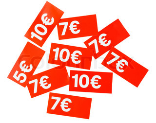 red paper price tags euros