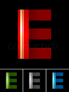 ABC font from coloured set paper ribbon-Latin letter E