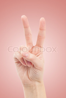 Hand with two fingers up in the peace or victory symbol Also the sign for the letter V in sign language