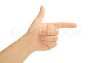 Pointing hand or shooting isolated on white background