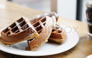 Homestyle Belgian waffles on a white plate