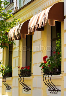 Red flowers on the windowsills of a yellow house