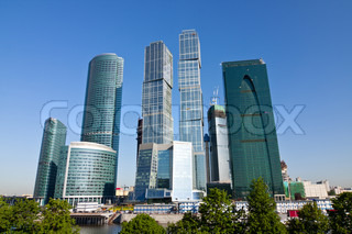 Skyscrapers of Moscow city under blue sky