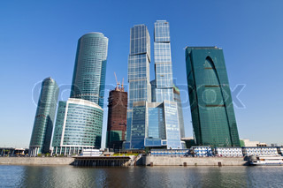 Skyscrapers of Moscow city under blue sky with clouds