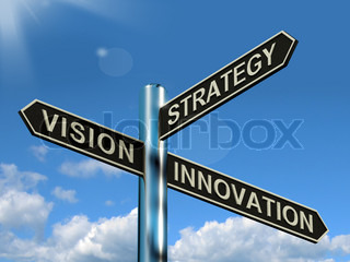 Vision Strategy Innovation Signpost Showing Business Leadership