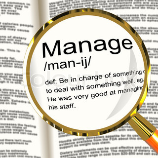 Manage Definition Magnifier Shows Leadership Management And Supervision