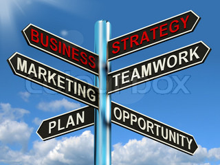 Business Strategy Signpost Showing Teamwork Marketing And Plan