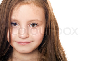 Closeup portrait of pretty little girl Isolated