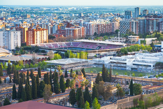 view oncemetery and fields of football stadium in Barcelona