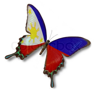 Philippines flag on butterfly isolated on white