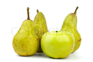 Three green pears and apple