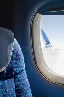 Passenger seat in an airplane close up