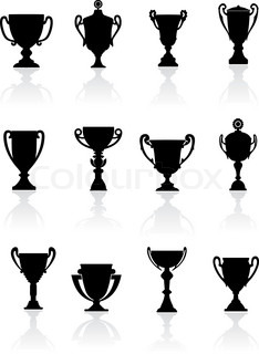 Set of sports trophies
