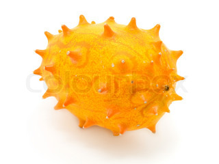 Tropical fruit kiwano on a white background