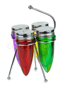 Set of empty shakers and spice containers