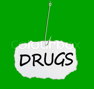 Word DRUGS on a fishing hook