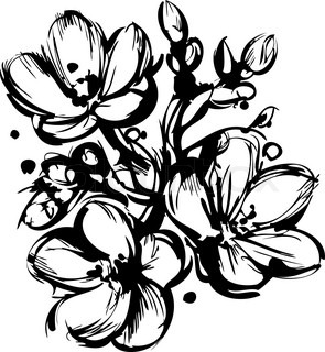 blackly white sketch of spring colors three buds