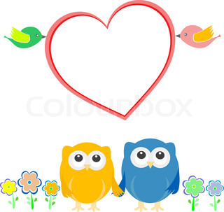 Valentine card with bird couple, owls and love heart