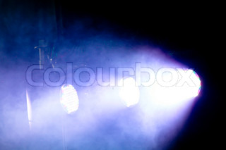 blue lights in a concert stage