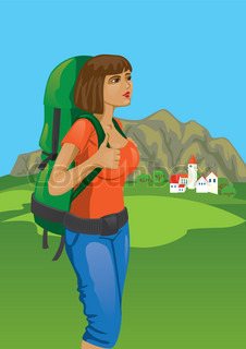 A girl with a backpack on his shoulders against the backdrop of mountains and small town