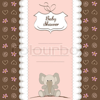 new baby girl shower card with elephant