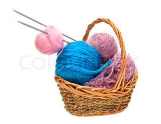 Yarn for knitting with knitting needles in a wicker basket