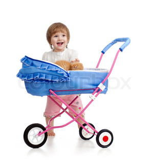girl with buggy and kitten inside