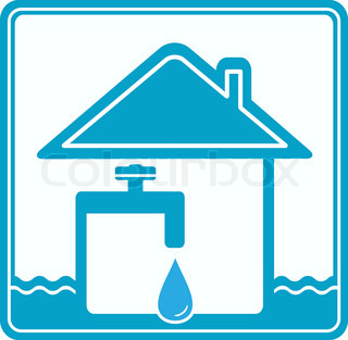 blue icon with house, drop, water pipe and faucet silhouette