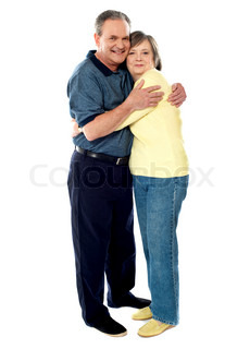 Portrait of happy couple hugging