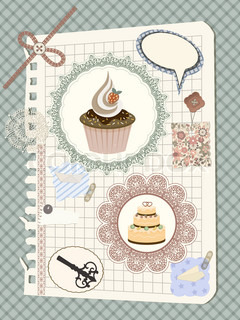 vector scrapbook with nakin and cakes, toys, and other design elements