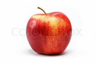 Ripe juicy natural red apple on a white background