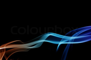 wave and smoke of different colors on black background