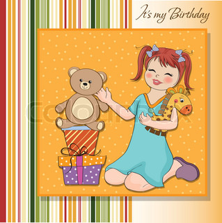 little girl playing with her birthday gifts . happy birthday card