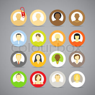 Collection of vector account icons of men and women Different nationalities