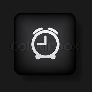 vector alarm clock icon on black Eps10