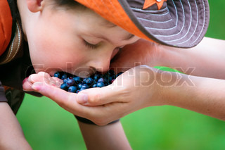 Cute little boy eating berries from mother's hand