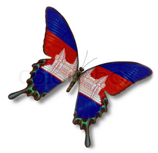 Cambodia flag on butterfly