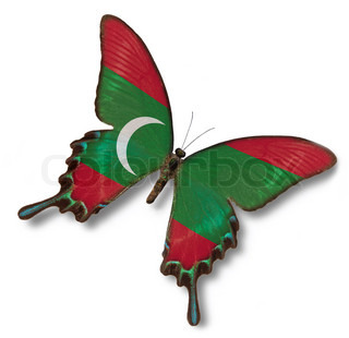 Maldives flag on butterfly
