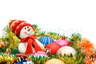 Christmas greeting - Cute snowman and group of balls