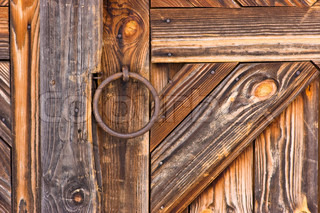 Red Door On Old Wooden Barn Stock Photo Colourbox